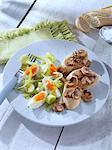 Leek egg salad with mushrooms and bread