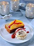 Orange cake and ice cream