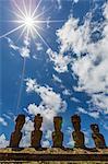 Moai with scoria red topknots at the restored ceremonial site of Ahu Nau Nau on Easter Island (Isla de Pascua) (Rapa Nui), UNESCO World Heritage Site, Chile, South America