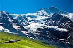 Jungfraubahn funicular train climbs to the Jungfrau from Kleine Scheidegg in the Swiss Alps in Bernese Oberland, Switzerland, Europe