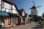 Danish-styled street and windmill, Solvang, Santa Ynez Valley, Santa Barbara County, California, United States of America, North America