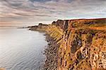Basaltic cliffs facing onto Raasay Sound, east coast of Skye, Trotternish, Isle of Skye, Inner Hebrides, Scotland, United Kingdom, Europe