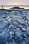 Lava flows and tourist, Sullivan Bay, Galapagos Islands