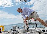 Active senior, 61, trims sail on 62 ft sailboat