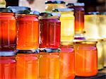 Different types of honey sold in Georgia, Caucasus.