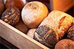 Assorted rolls on a bakery shelf