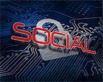 Social against white digital padlock over circuit board