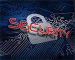 Security against white digital padlock over circuit board