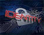 Identity against white digital padlock over circuit board