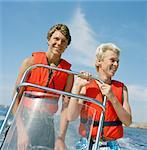 Two teenage boys on boat, Grundsund, Bohuslan, Sweden