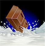 Chocolate falling into milk, computer artwork.