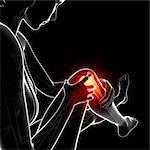 Knee pain, computer artwork.