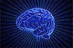 Artwork of the human brain on binary code.