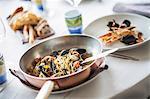 Linguine ai frutti di mare (pasta with seafood, Italy)