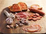 Chorizo garlic ham and toast