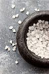 Sea salt crystals in a mortar