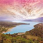 Fantastic sunset at Saint Croix lake. South Provence. France.