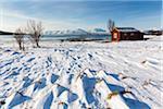 Typical Fishing Hut in Winter, Sandnessundet, Tromso, Troms, Norway