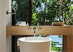 Modern sink in luxury bathroom