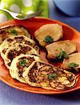 Mashed potato pancakes with filet mignon