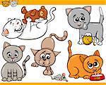 Cartoon Illustration of Happy Cats or Kittens Pets Set