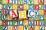 Vintage wooden alphabetic blocks, ABC