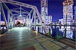 Yokohama, Japan at Minato Mirai park and bridge.