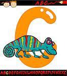 Cartoon Illustration of Capital Letter C from Alphabet with Chameleon Animal for Children Education