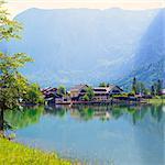 Austria, Osterreich. Upper Austria, Oberosterreich. Traunsee lake. Obertraun.