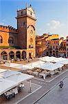 Italy, Lombardy, Mantova district, Mantua, Piazza delle Erbe and Torre dell'Orologio