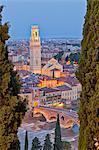 Italy, Italia Veneto, Verona district. Verona. View from Castel San Pietro. View toward the Duomo and the Ponte Pietra.