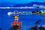 Asia, Japan, Honshu, Hiroshima prefecture, Miyajima Island, tori gate of Itsukushima jinja Shinto Shrine, Unesco