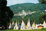 South East Asia, Myanmar, Pindaya, Nget Pyaw Taw Pagoda below entrance to Shwe Oo Min Natural Cave Pagoda