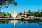 South East Asia, Myanmar, Bago, lakeside pagodas