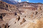 Nepal, Mustang. Rock formations en route to Chusang, deep in the Kali Gandaki gorge.