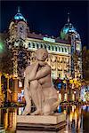 Night view of La Diosa marble sculpture, Plaza Catalunya, Barcelona, Catalonia, Spain