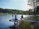 Family enjoying autumnal atmosphere