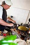 Chef effusing food