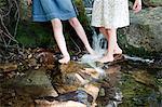 Legs of girls in river