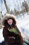 Girl wearing winter coat, portrait