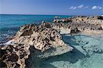 Rocks and Caribbean Sea, Grand Cayman, Cayman Islands