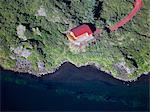 Aerial view of house on coastline