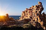 Rock formations on rural coastline
