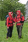 Hikers wearing raincoats in rain