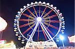 Illuminated Ferris Wheel at Public Festival at Night, Neumarkt in der Oberpfalz, Upper Palatinate, Bavaria, Germany