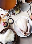 Still life of hu tieu pho ga, ingredients for vietnamese meal
