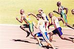 Sprinters racing on track