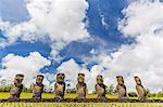 Seven Moai at Ahu Akivi, the first restored altar, Rapa Nui National Park, UNESCO World Heritage Site, Easter Island (Isla de Pascua), Chile, South America