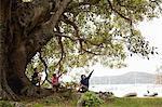 Three boys sitting under tree