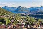 Elevated view of Monte San Salvatore, Lugano and Lugano Lake in Spring, Ticino, Switzerland